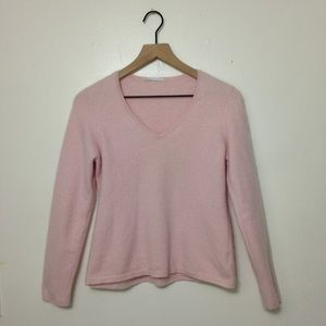 Sweaters - Light Pink 2 Ply Cashmere V Neck Sweeter Comfy